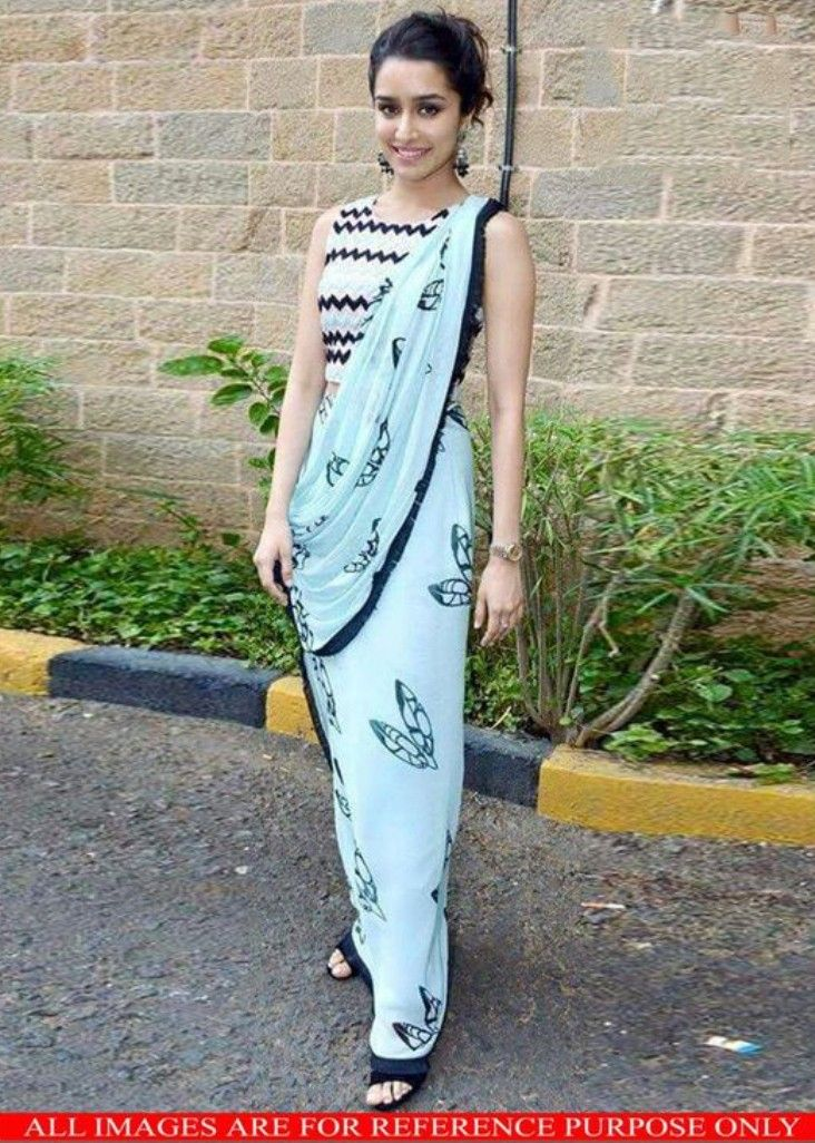 Shraddha Kapoor Georgette Printed Blue Bollywood Style Saree - 9387 at Rs 1499