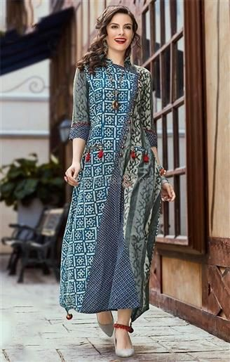 ff2ef305eab8 Pretty Glowing Tailored Angrakha Type Long Kurti For Skinny Jeans ...