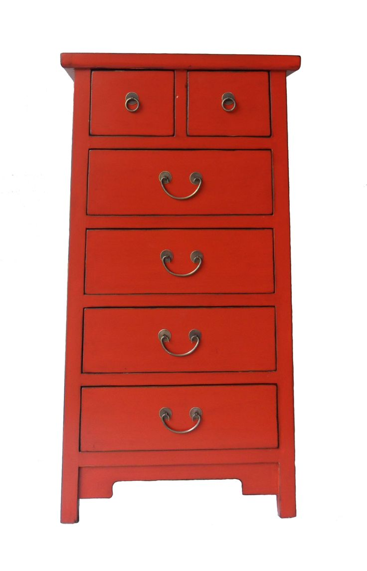 RED CABINET WITH 6 DRAWERS