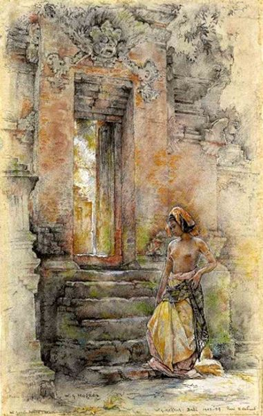 Willem Gerard Hofker - Ni Goesti Made Toewi at the temple gate