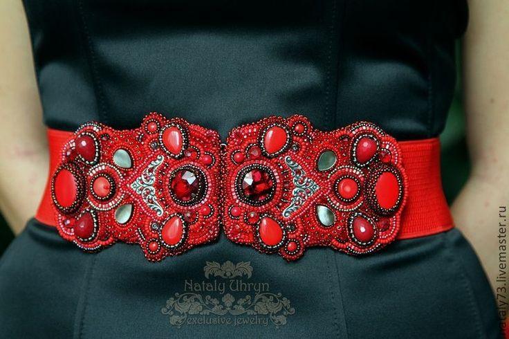 """пояс-резинка """"Scarlet""""(2 варианты ) - ярко-красный,орнамент,яркий пояс"""