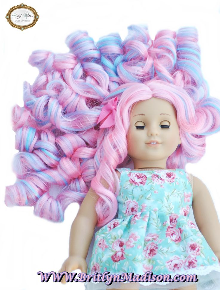 Cotton Candy Curls Premium Doll wig for Custom American Girl Dolls