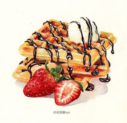 Wafer com geleia de morango e calda de chocolate. Um delírio de amor! DC