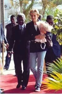 January 13, 1997: Diana, Princess of Wales upon her arrival at the Luanda Airport, Angola announced she had joing the international campaign by working with the Red Cross to ban landmines.