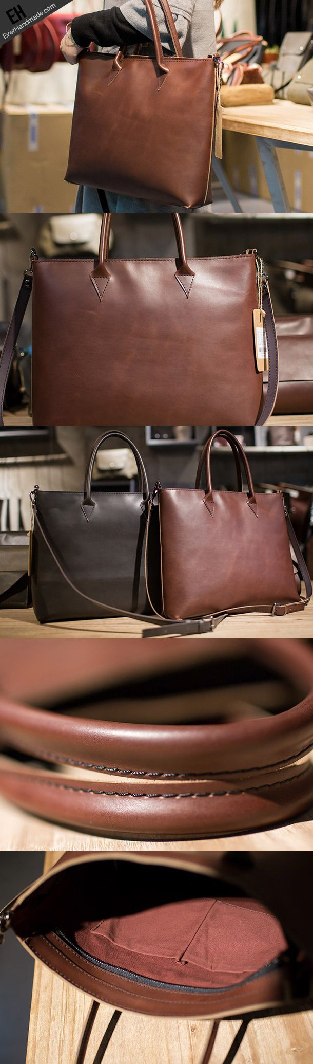 Handmade Leather big handbag dark coffee brown for women leather shoulder bag