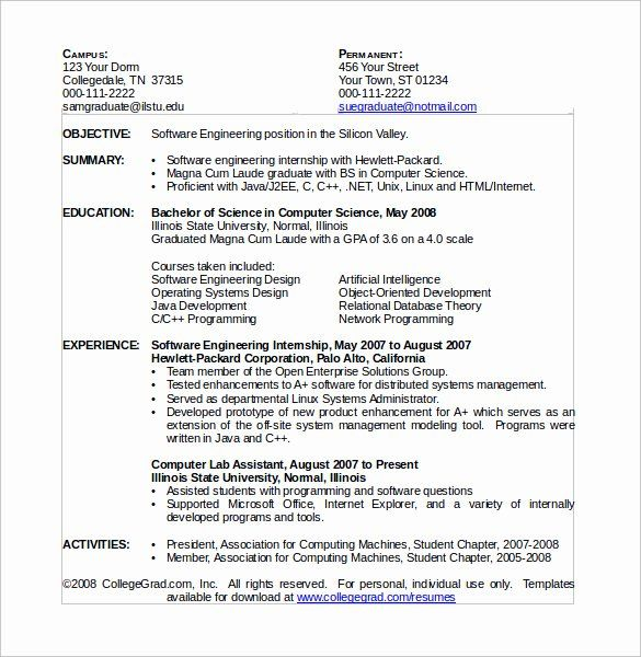 Computer Science Resume Internship Best Of Sample Puter Science Resume 11 Download Free Resume Template Word Free Online Resume Templates Resume Design