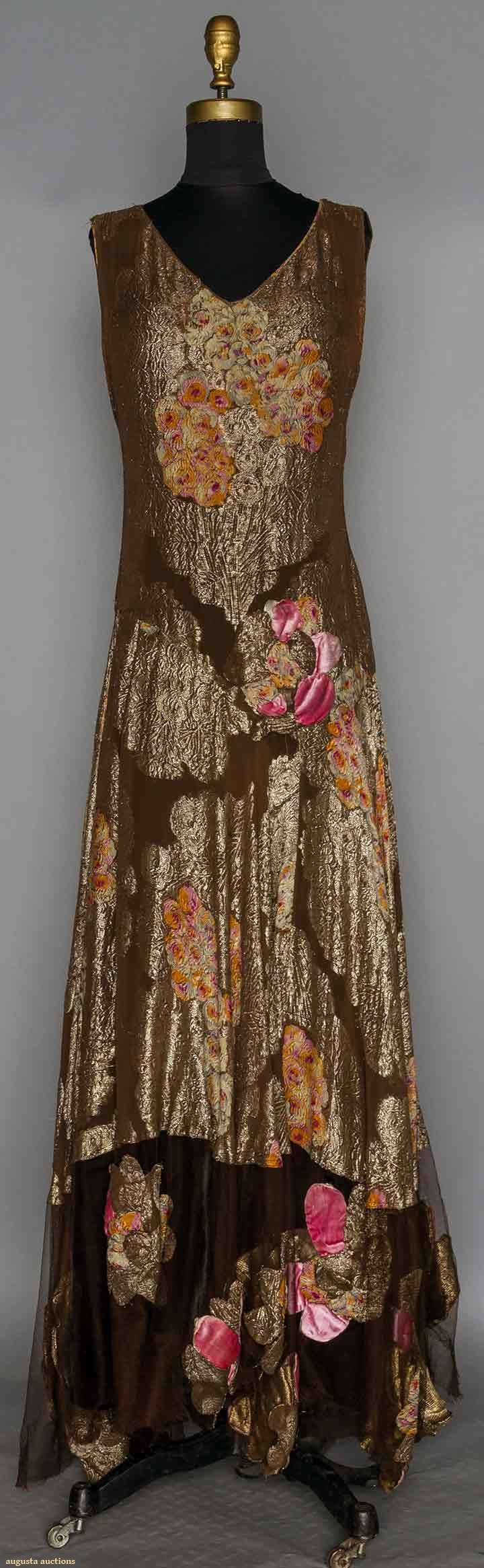 Printed Gold Lame Gown, 1930s, Augusta Auctions - Up for auction November 11, 2015 NYC long dress evening formal bronze brown pink silk