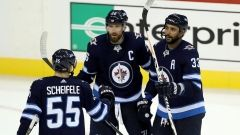 Sept.27 2017 - Byfuglien has three points in Jets' win over Sens Dustin Byfuglien had a goal and two assists and Bryan Little scored twice as the Winnipeg Jets defeated the Ottawa Senators 5-3 in pre-season action Wednesday Winnipeg Jets celebrate goal, The Canadian Press