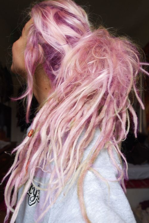 Happiness is pink hair.