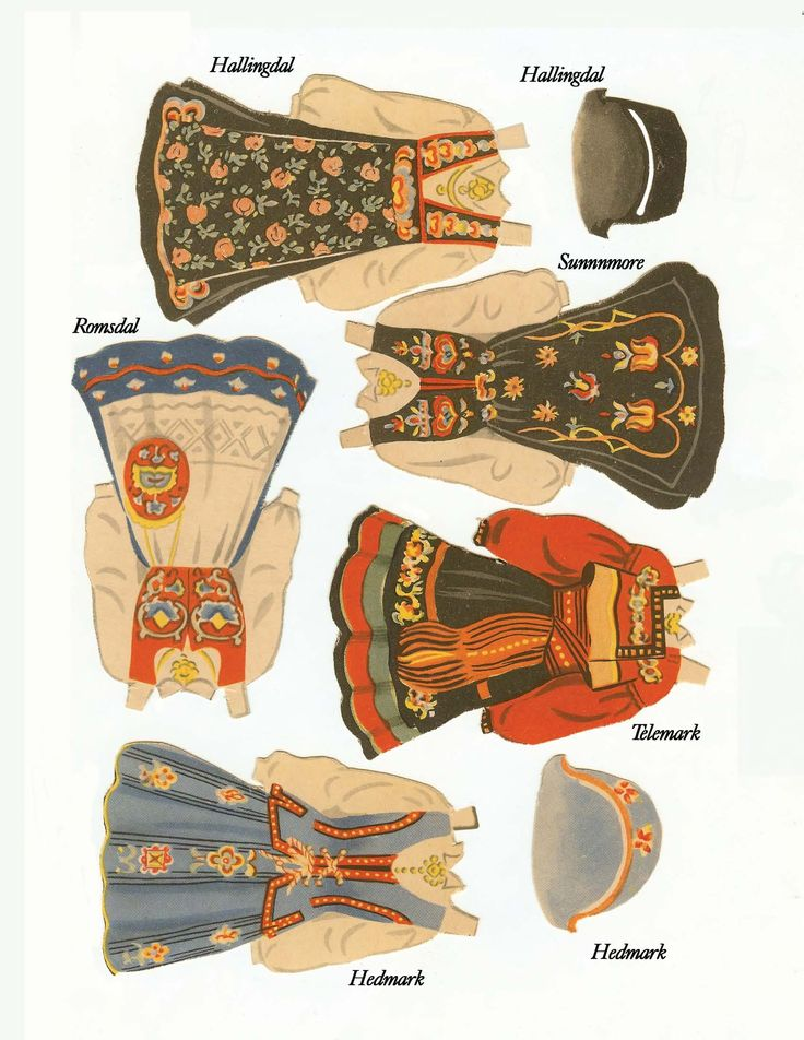 Printable Norwegian paper doll dresses