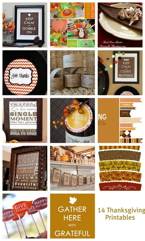 14 free Thanksgiving printables