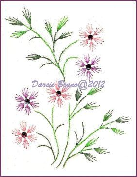 Spring Flowers and Leaves Embroidery Pattern for Greeting by Darse