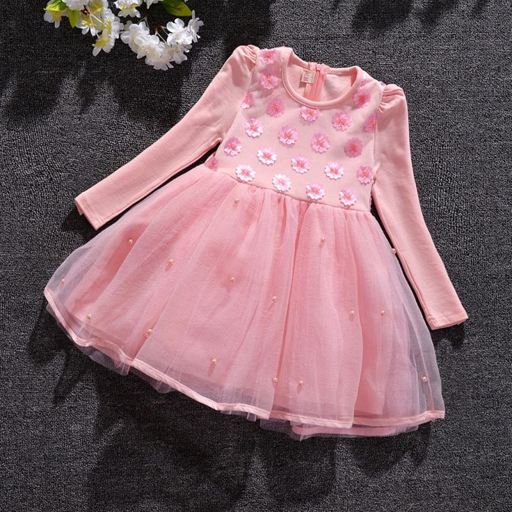 16.74$  Buy here - http://aliwh6.shopchina.info/go.php?t=32787777919 - Baby Girl Princess Dress 3-9 Years Kids Autumn & Winter Dresses for Toddler Girl Children Sequined Flowers Clothing  #shopstyle