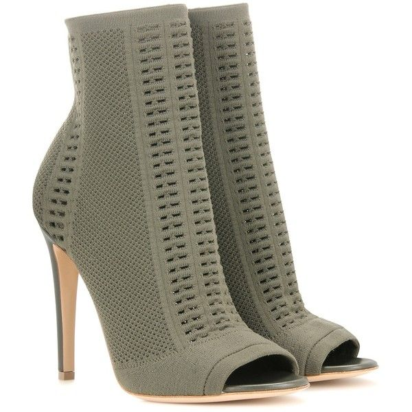 Gianvito Rossi Knitted Stretch Peeptoe Ankle Boots ($1,045) ❤ liked on Polyvore featuring shoes, boots, ankle booties, green, peep toe ankle bootie, short boots, green boots, green booties and gianvito rossi booties