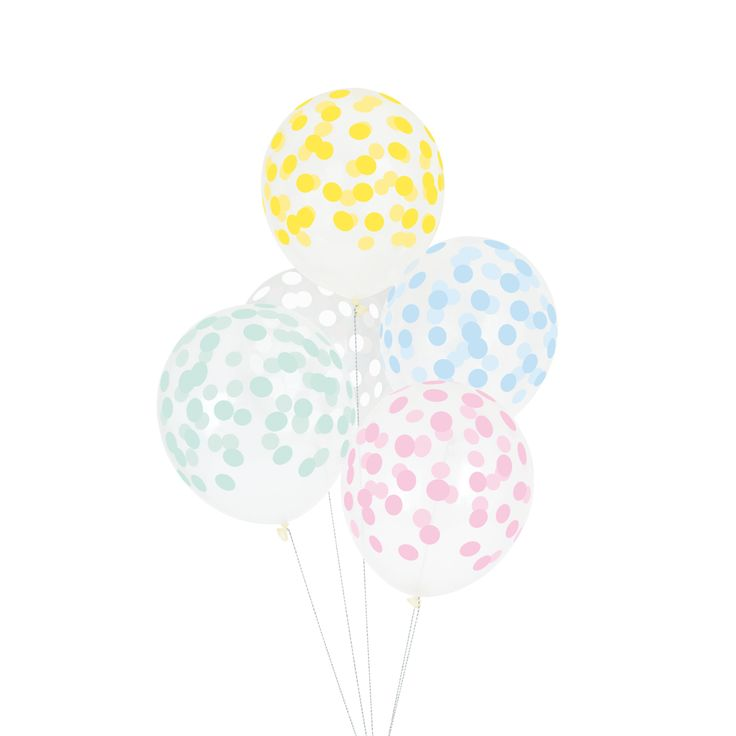 Printed confetti balloons for a themed birthday party! Perfect for any little boy or girl's party but also for a birthday, a picnic, a wedding, a baby shower, a christening or a family event. Warning: Balloon may burst if over-inflated. The balloons are latex and therefore are completely biodegradable. 5 balloons per pack.
