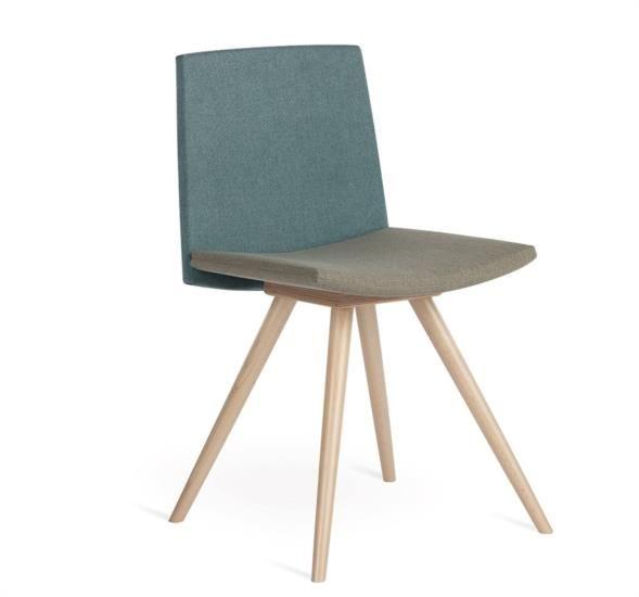 Sedia in legno con tessuto o ecopelle