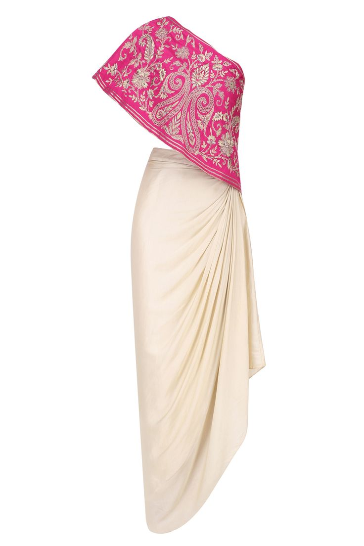 Samatvam Maroon floral embroidered one shoulder top with cream drape skirt available only at Pernia's Pop Up Shop.