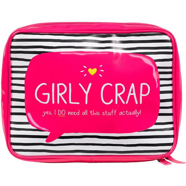 "Happy Jackson ""Girly Crap"" Wash Bag (38 CAD) found on Polyvore featuring beauty products, beauty accessories, bags & cases, bags, makeup, accessories, beauty, pink, filler and travel cosmetic bag"