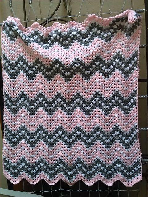 Pretty Pink Ripple Waves Baby Blanket Crochet Pattern #crochetideas #crochetlove