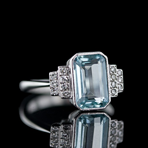 Aquamarine Decó Ring