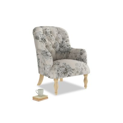 Flump armchair in Dusty Blue vintage rose   – Products