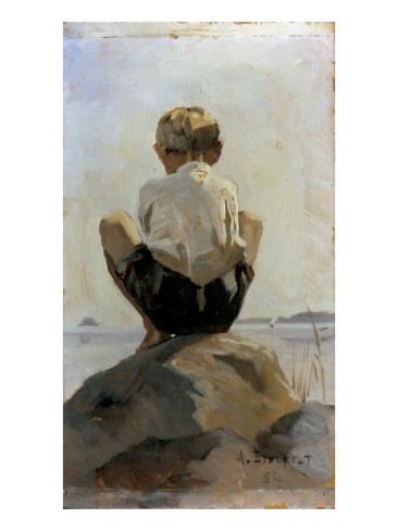 Boy crouching on Rock by Albert Edelfelt. Edelfelt studied art in Antwerp (1873–1874), Paris (1874–1878) and Saint Petersburg (1881–1882).