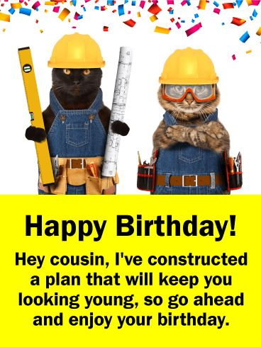 Construction Cats Funny Birthday Card for Cousin: This cute and funny Happy Birthday card will brighten up your cousin's day! Just in case your cousin is worried about looking older on his or her birthday, there is now no need for concern because a plan has been constructed to keep him or her looking young. These cats are on top of it! The birthday celebration confetti adds a festive element to this birthday card and will certainly put a smile on your cousin's face.