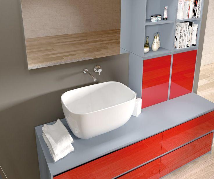 Merati - Mobile bagno sinuoso, senza spigoli, ideale per il bagno dei più piccoli