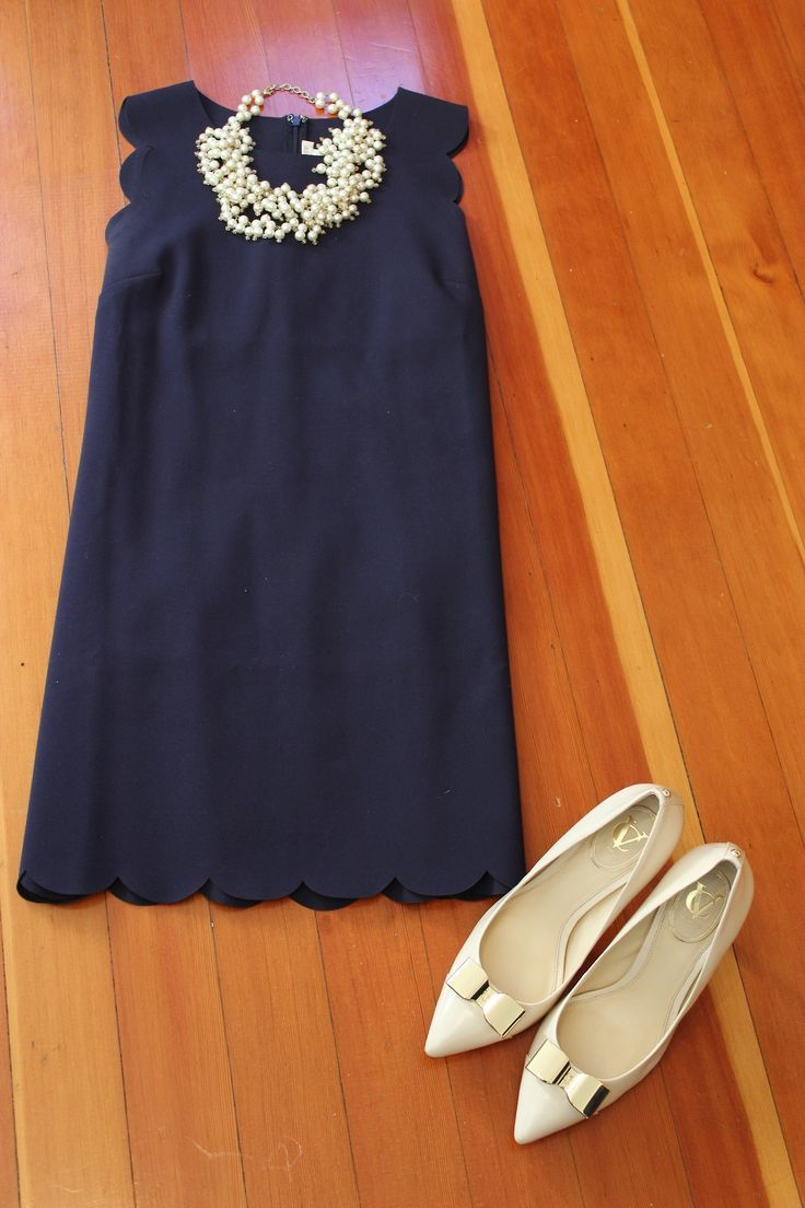 j crew scalloped dress. I would wear black leggings with a black blazer