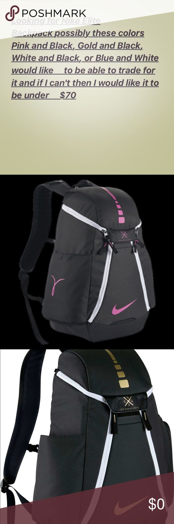 Nike Elite Backpack Want one by September 2017 or 2018 one of those colors but not a grey and white one I liked that color but almost everyone in my grade has a grey Nike Elite Backpack Nike Bags Backpacks