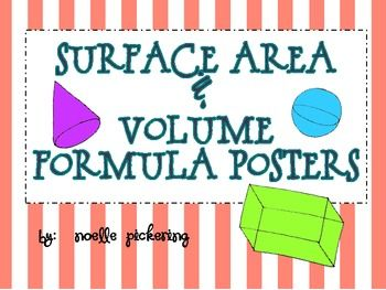 {Free} Surface Area and Volume Formula Posters