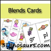 Free printable Blends Cards - 3 Dinosaurs