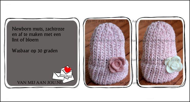 newborn - baby meisjesmuts -  muts op bestelling gehaakt - met de hand op maat en kleur gehaakt - www.vanmijaanjou.nl -