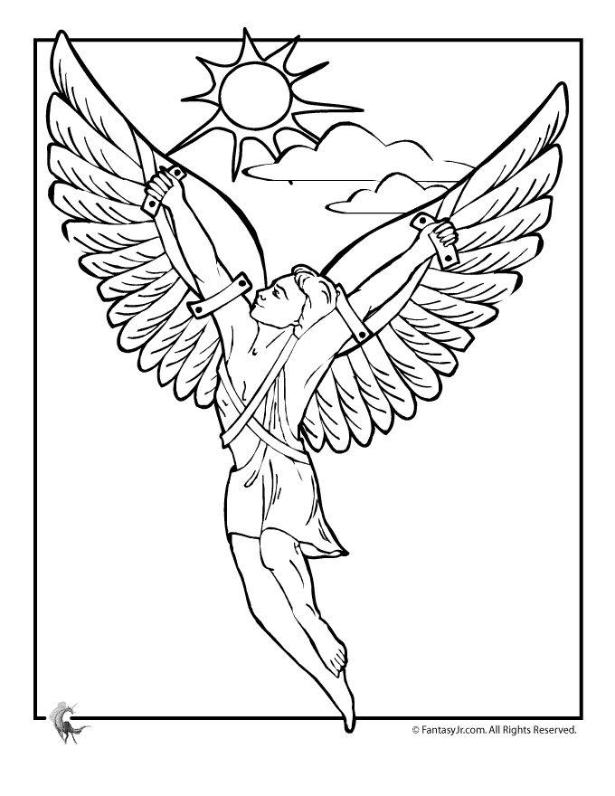 Starověcí řečtí bohové a hrdinové řecké Omalovánky řecké mýty Omalovánka - Icarus - Fantasy Jr.