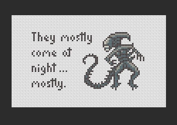 Aliens Quote PDF Cross Stitch Pattern by RobotSoon on Etsy