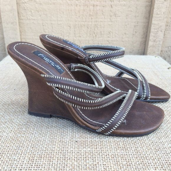 "Forever 21 Brown Sandals Wedge Forever 21 Brown Sandal Wedges. Great for everyday Summer wear.   Type: Sandals Size: 5, 4"" heel Forever 21 Shoes Sandals"