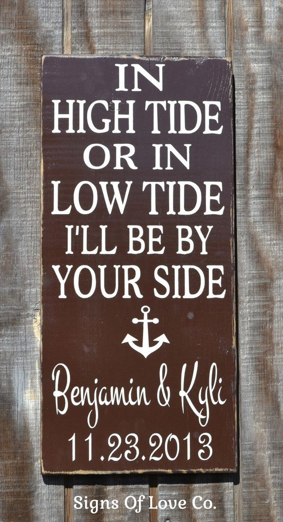 Beach Anchor Weddings - Customized Handpainted Colors - Personalized In High Tide or Low Tide I'll Be By Your Side Nautical Anchor Personalized Beach Wedding Sign