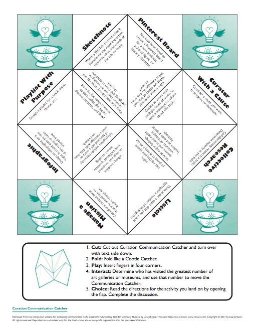 """Curation Cootie Catcher... Meant to Spark Student Projects that Revolve around Curation and/or a Curated Work. (FREE Download (Check out the Book """"Cultivating Communication in the Classroom"""" for more ways to use this tool.)"""