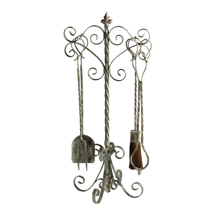 New Rustic Tuscan Farmhouse French Cottage Scroll Fireplace Fire 5pc Tools Set Antiqued Iron Shabby Chic Style Decor, Traditional Home, French Country, Parisian, Hearth Fire Screen, Horchow, Pierre Deux Style, Wrought Iron, Handcrafted, Antique White, Gray, Rust Brown Patina, Matching Fireplace Screen Available Separately