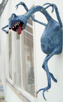 Ha hA!!!  Gonna put with a NO SOLICITING sign!!!!!  paper mache monster. Make large one for front porch