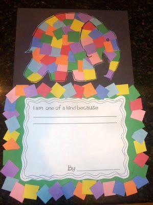 colored paper squares Elmer the elephant