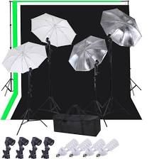 Pro Photography Lighting Studio Kit w/ 33' Umbrellas, 10' Background Support, 6x9' Muslin Backdrops & Daylight Bulbs