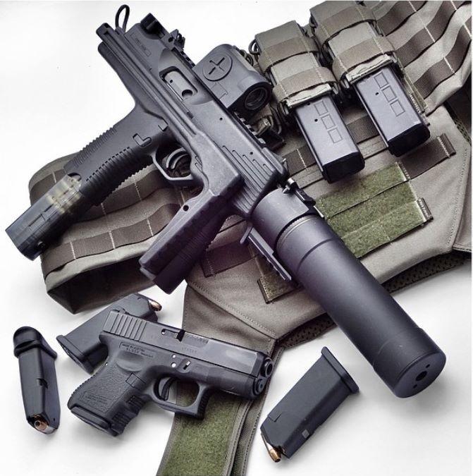 Brugger & Thomet MP9 suppressed submachine gun with Glock 29 gen 4 handgun