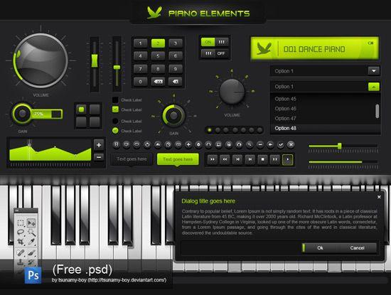 Free PSD – piano GUI elements