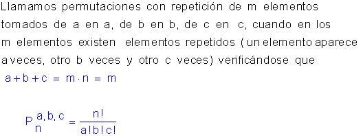 Permutaciones con repetición.