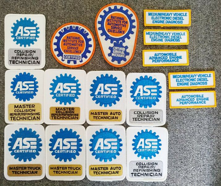 ase master patches technician automotive service excellence lot