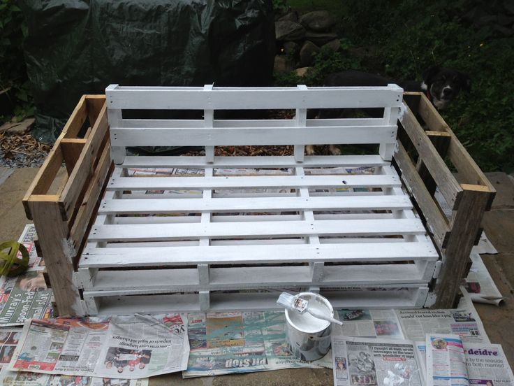 Pallet sofa. Secure all of the pieces together, paint, then add the cushions of your choice!