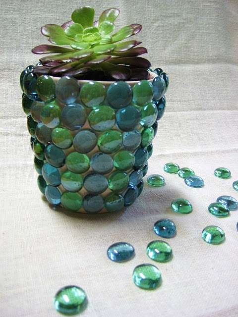 glass gem flower pot = love it with succulents