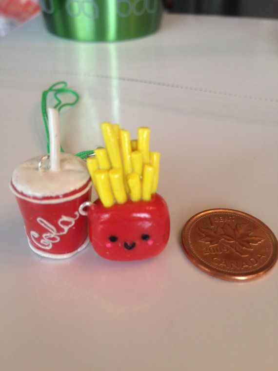 Polymer Clay Charms French fries and drink
