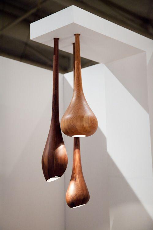 Spun wood pendant lights